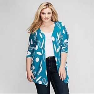 Lane Bryant Blue & White Printed Overpiece
